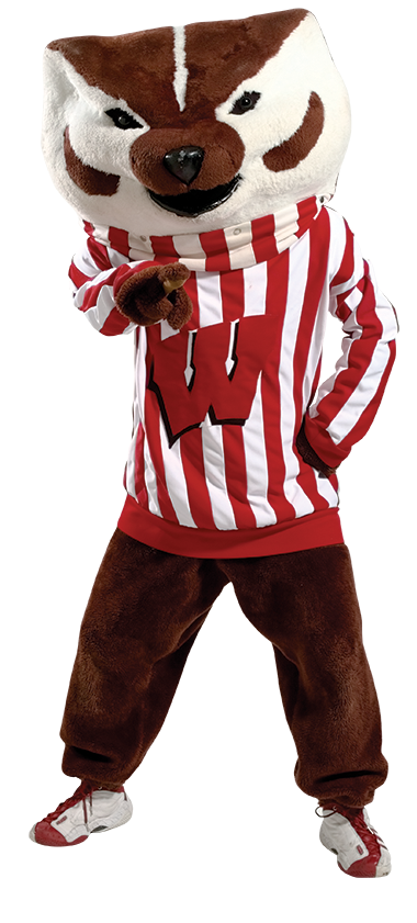 Bucky Badger pointing